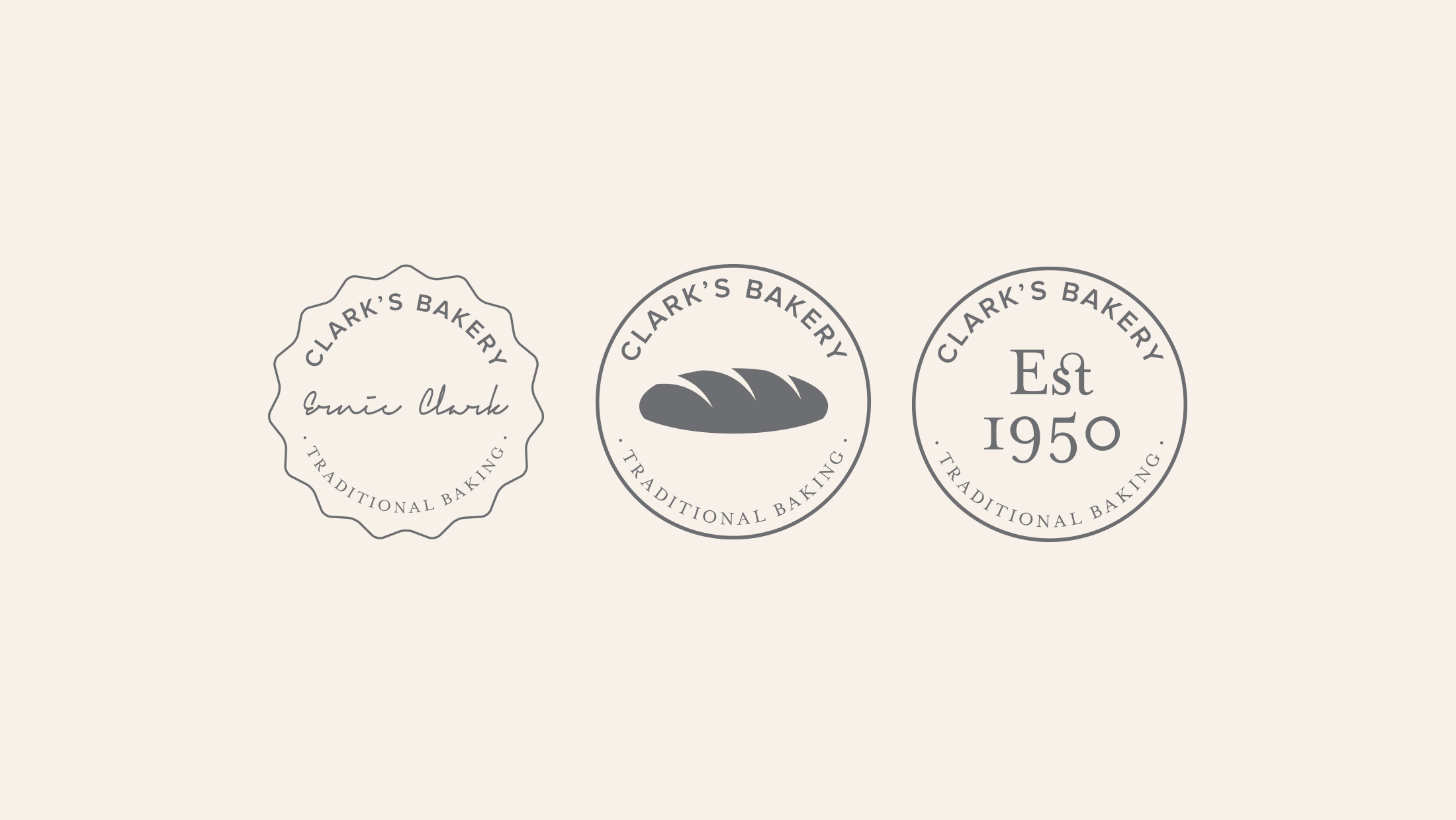 Three different circular logo marks for Clark's Bakery showing a signature, loaf of bread and established date