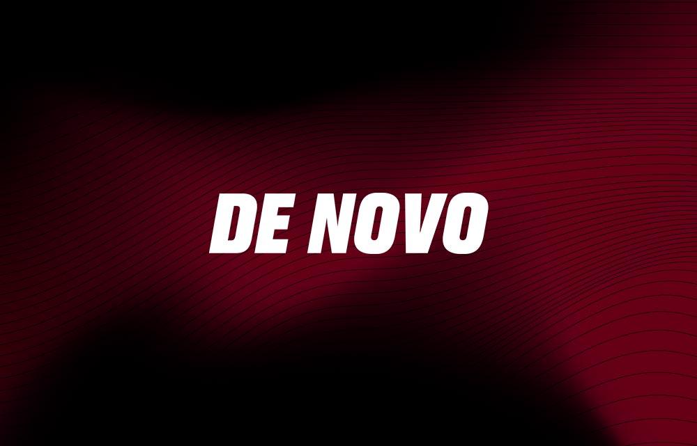 De Novo logo on a red and black background