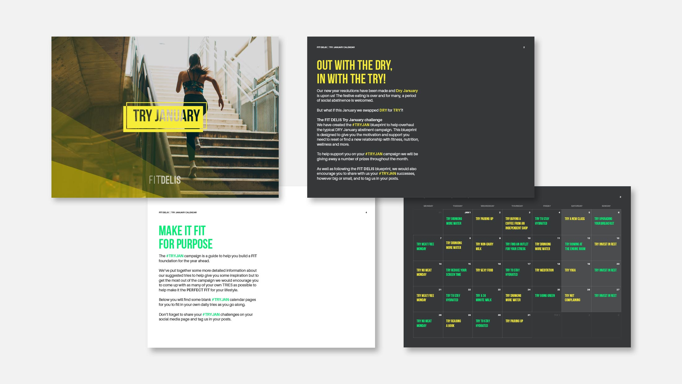 Four pages from the PDF guide for Fit Delis' Try January campaign