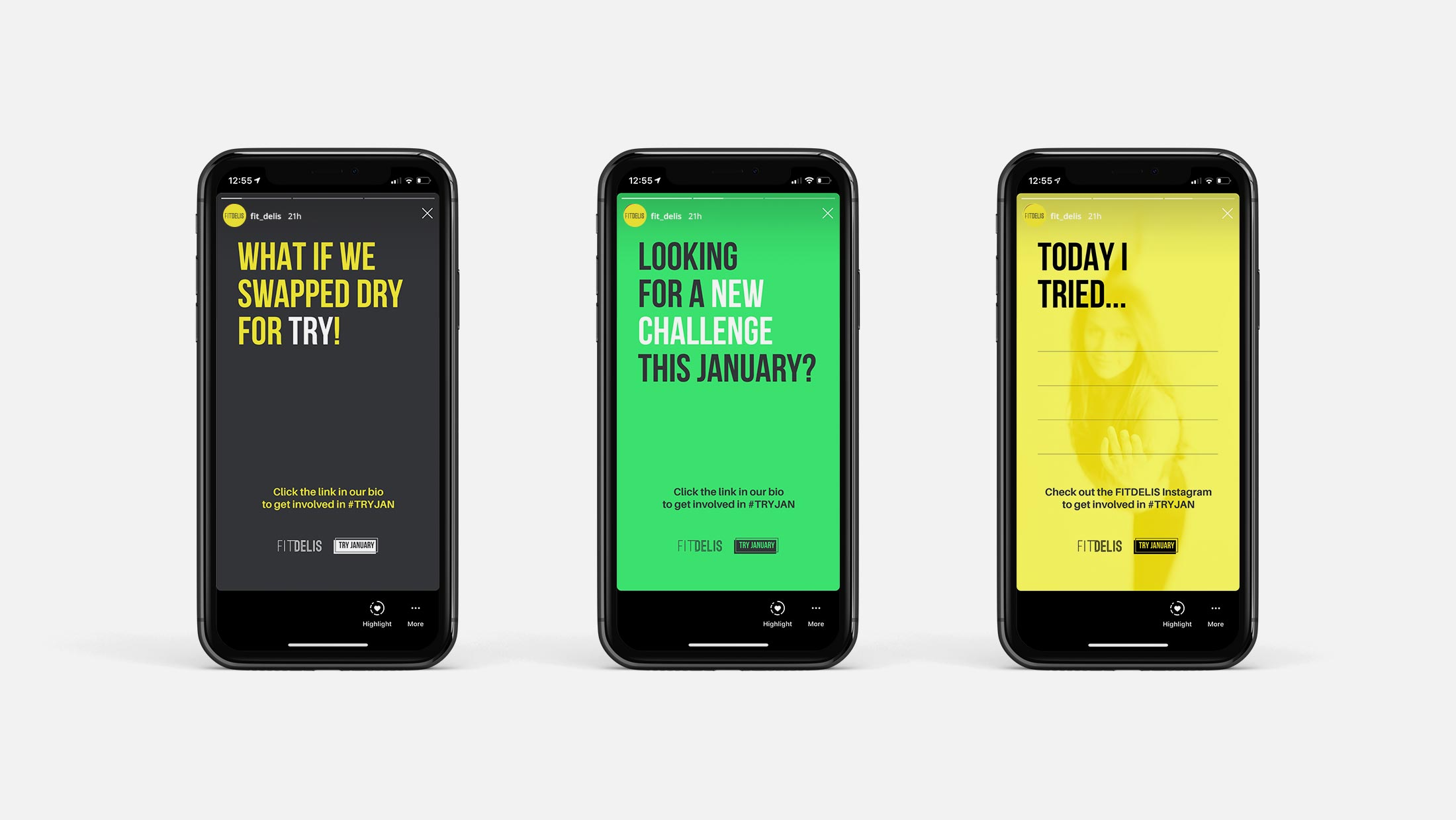 Mobile phone mockups showing Instagram stories for Fit Delis' Try January campaign