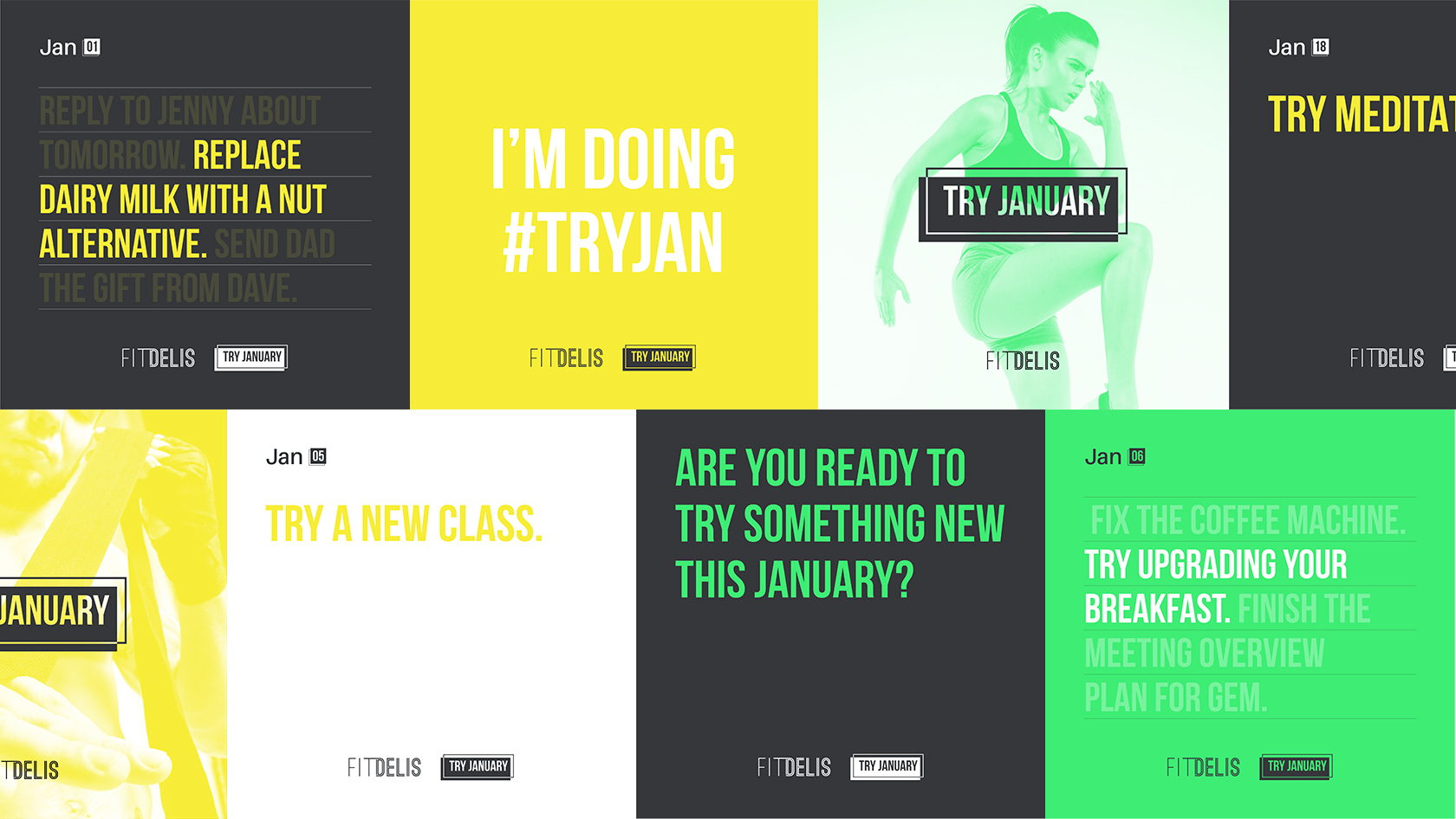 Various social media posts for Fit Delis' Try January campaign
