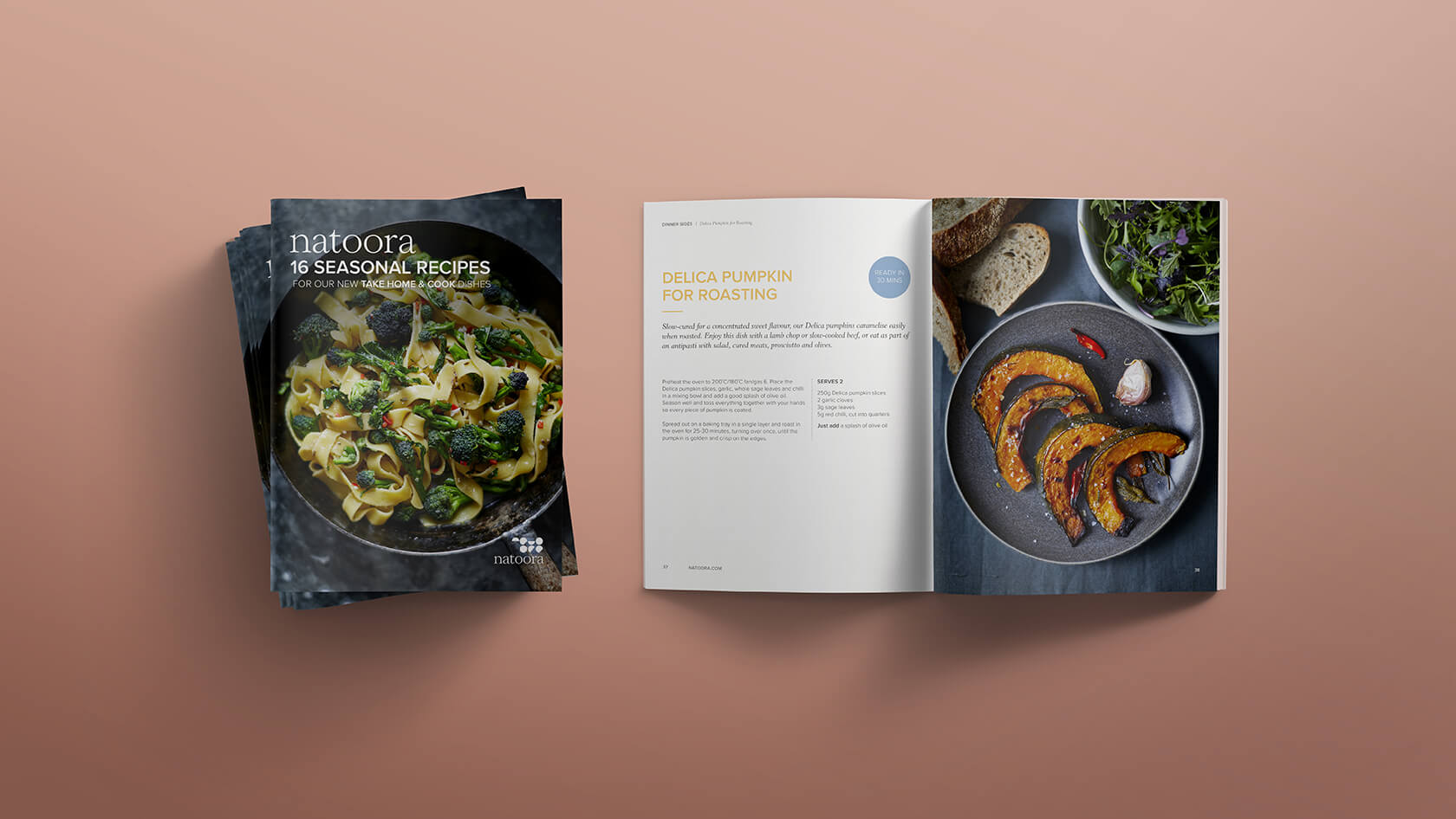 Front cover of recipe book, and roasted pumpkin recipe mock-up with photography of the dish