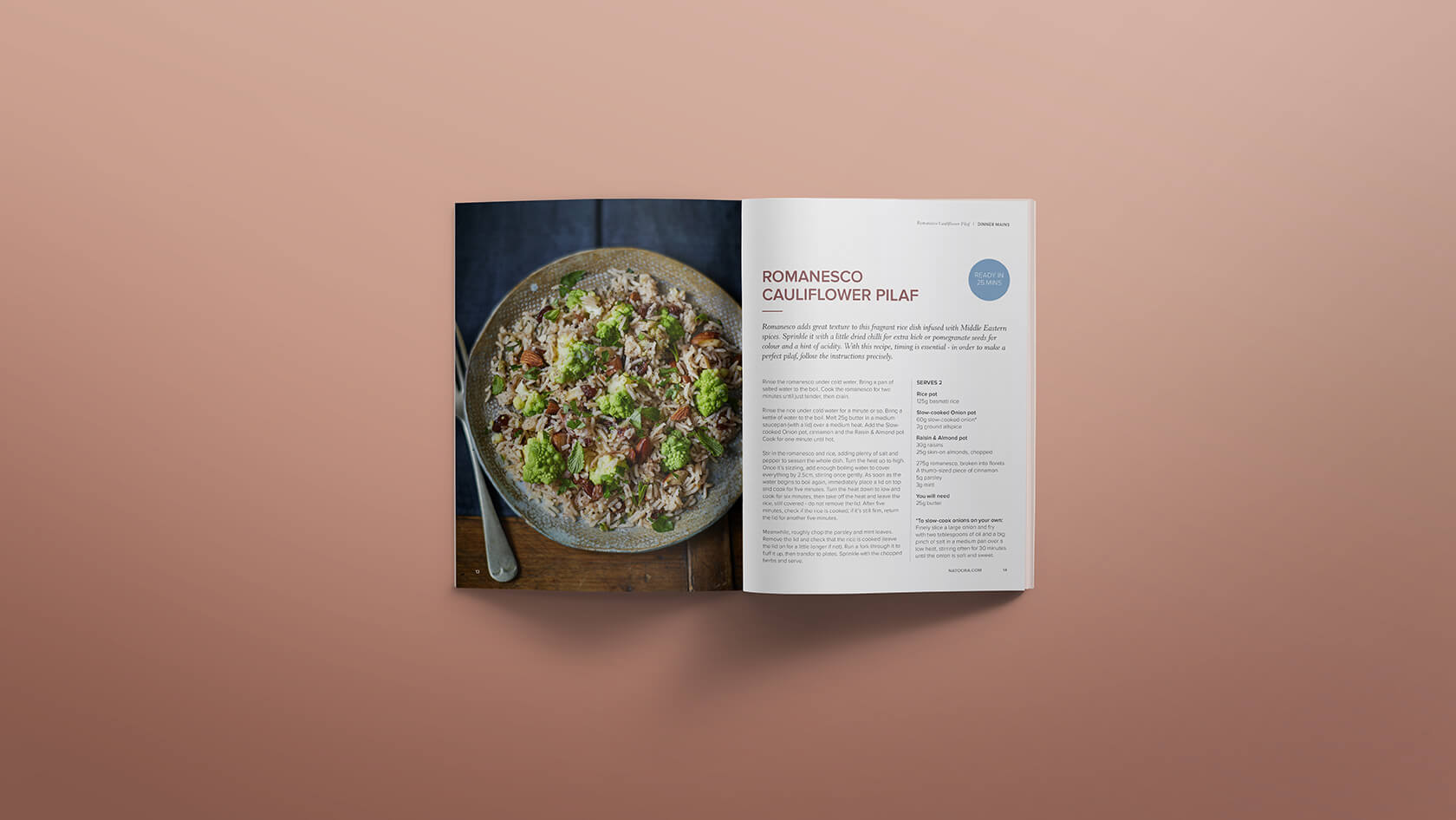 Cauliflower pilaf recipe mock-up with photography of the dish