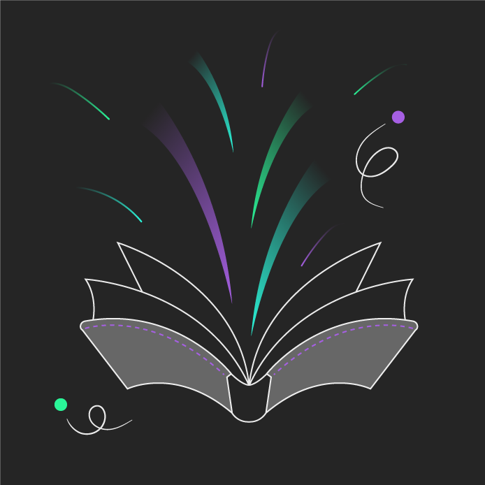 Colourful line illustration of a book with creativity coming out of it