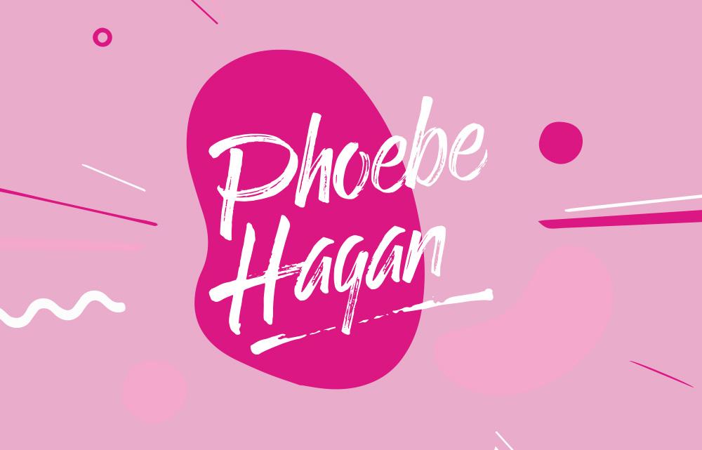 Phoebe Hagan thumbnail with pink abstract shapes and white logo