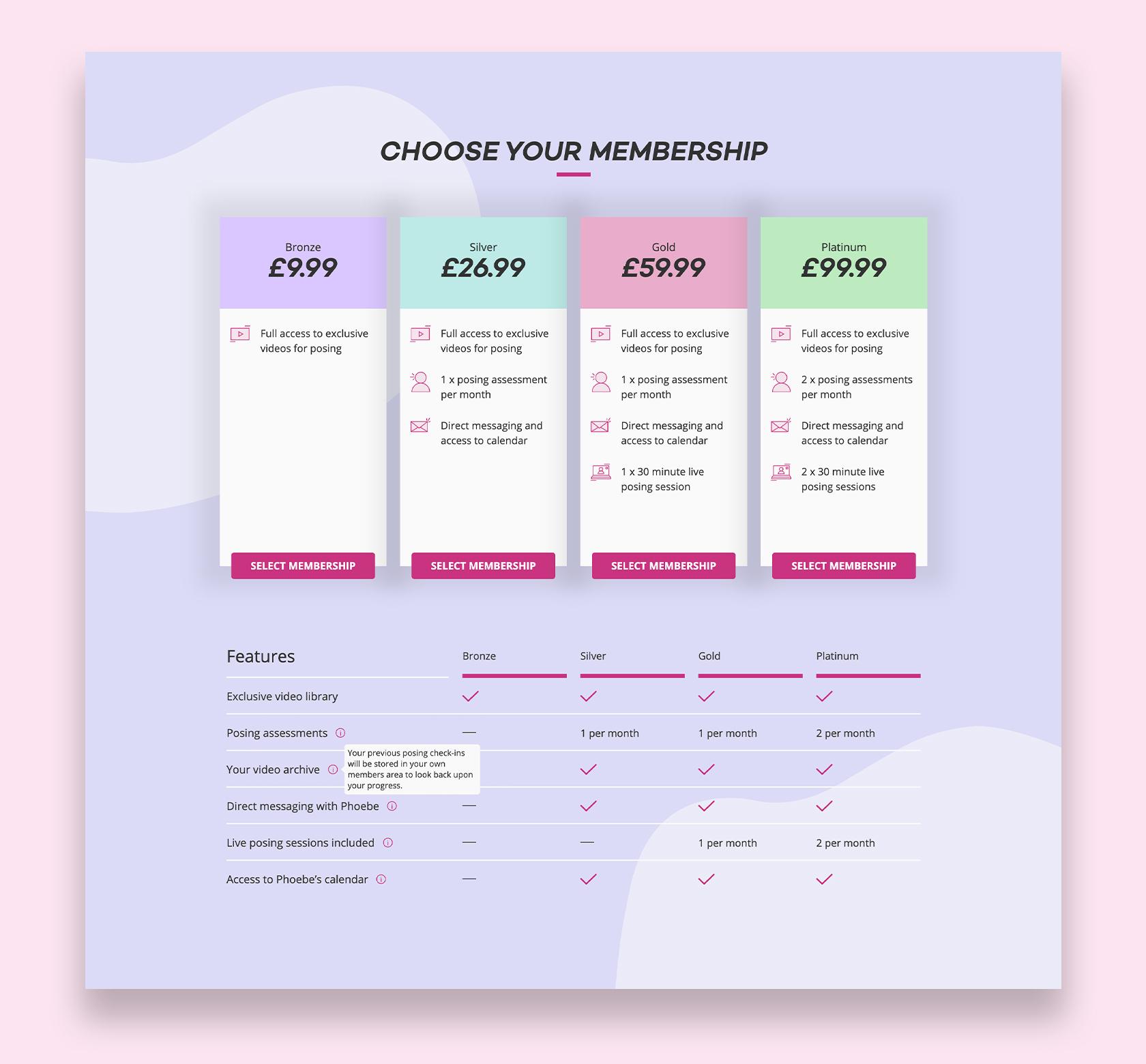 Website visual showing various membership options