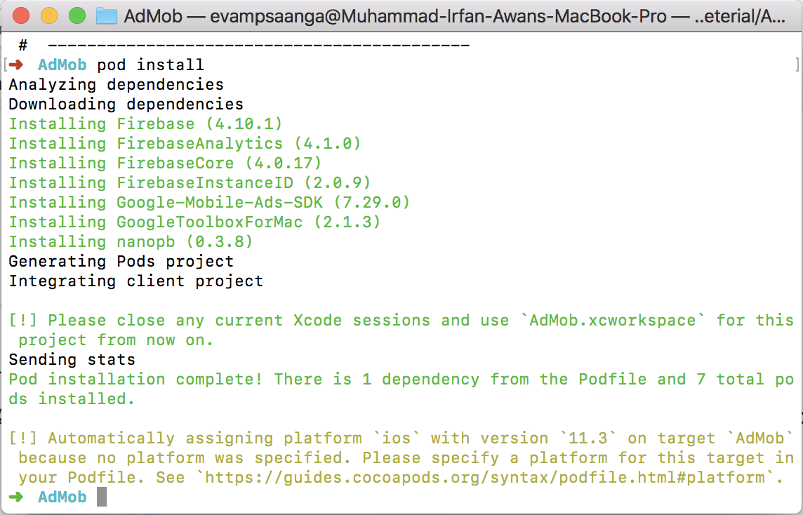 installing podfile