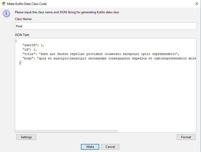 convert json to kotlin data class android studio