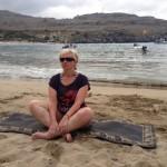 www.sospagreece,com Yoga on Lindos Pallas Beach with SoSpa Fitness Holidays
