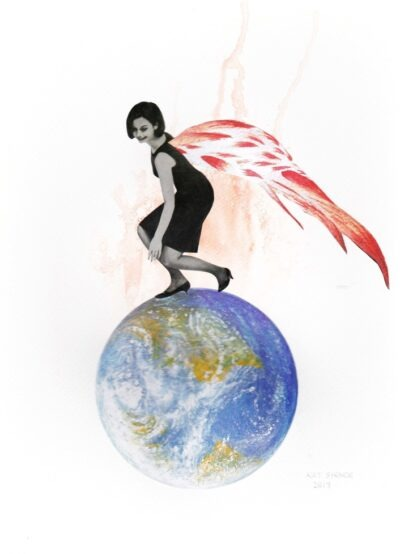 A coloured drawing of a woman in a black dress with bright red fiery wings standing on a globe, stooping to touch the top of the northern hemisphere. The image is called 'Pain Wings'