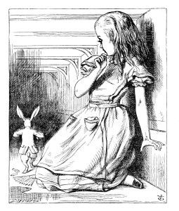 Line drawing of Alice in a tunnel watching the white rabbit run past her