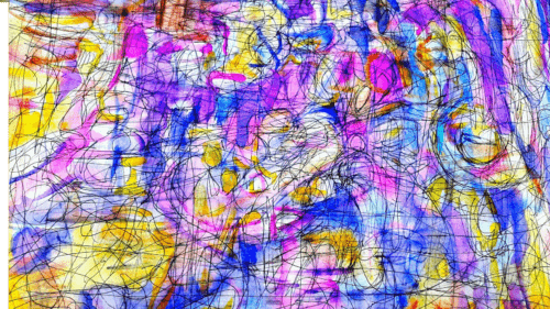 'Autogenic' by Ludo Foster, a rectangular abstract painting with vibrant splashes of purple, yellow, pink, blue and fuchsia watercolour paint. There are glimpses of white paper amid the colour and expressive black ink lines drawn on top.