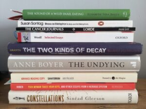 A stack of books about chronic illness by women