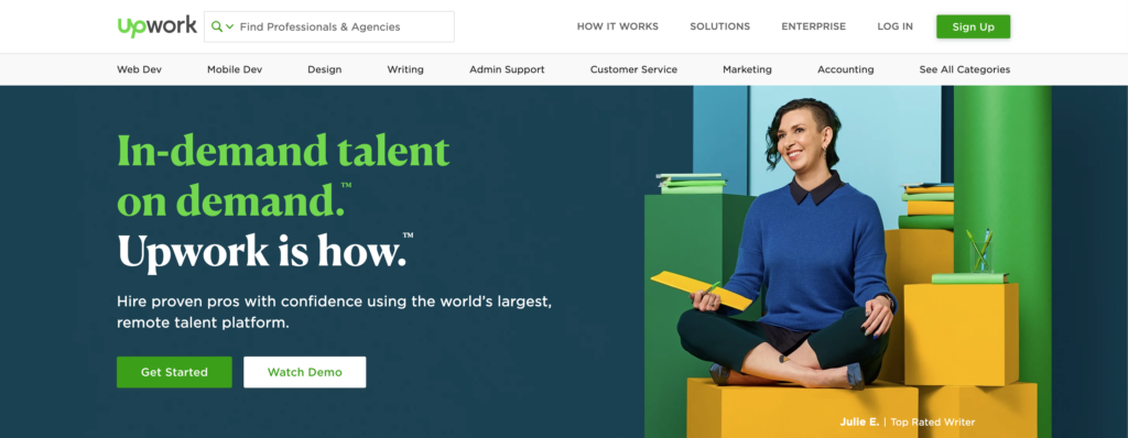 websites to hire freelance writers - UpWork