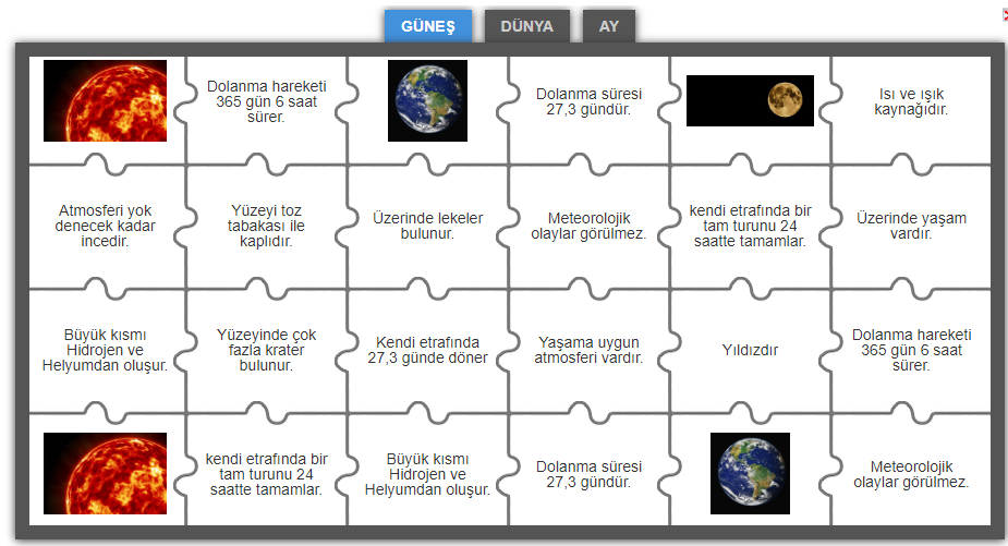 Güneş Dünya Ay Gruplu Yapboz Oyunu