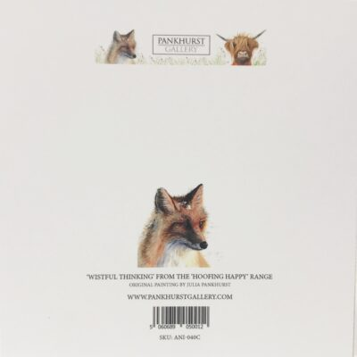 Red Fox Wistful Thinking Animal Art Greeting Card Back Pankhurst Cards and Gifts