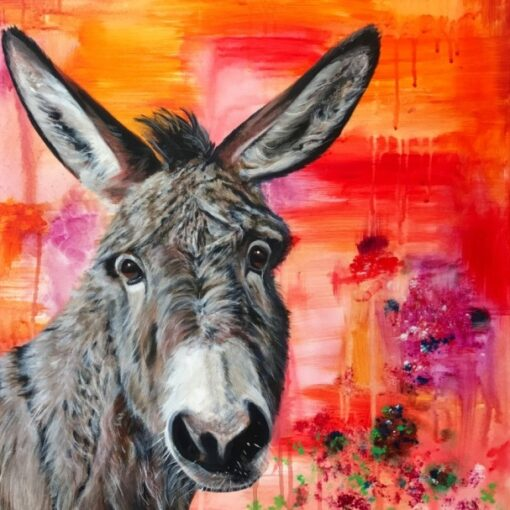 Dave Donkey Animal Art Greeting Card Back Pankhurst Cards and Gifts