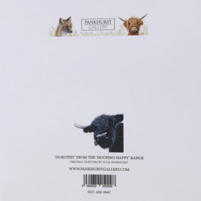 Dorothy Highland Cow Animal Art Greeting Card Back Pankhurst Cards and Gifts