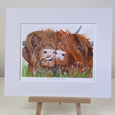 Highland fling Highland Cow Mini Art Gift Print Pankhurst Cards and Gifts