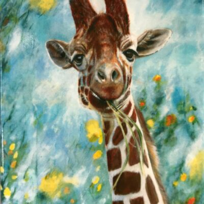 Giraffe Prudence Animal Art Gift Magnet Pankhurst Cards and Gifts