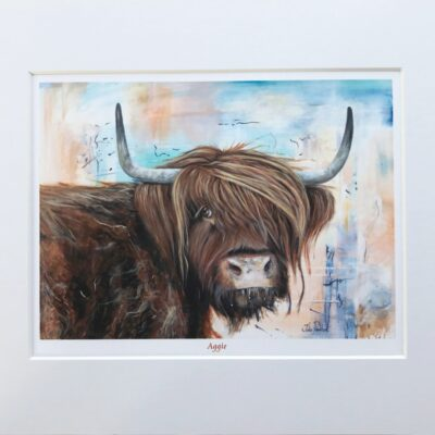 Highland Cow Aggie Art Print Gift Pankhurst Cards and Gifts