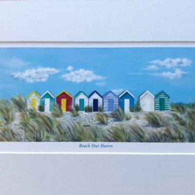 Beach Hut Haven Landscape Seascape Art Print Gift Pankhurst Cards and Gifts
