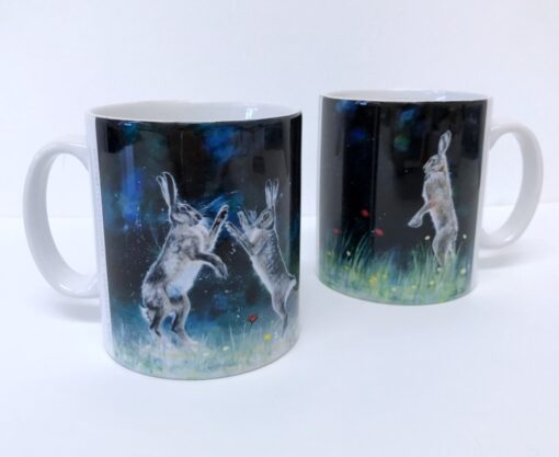 Boxing Hares Lone Hare Mug Animal Art Gift Pankhurst Cards and Gifts