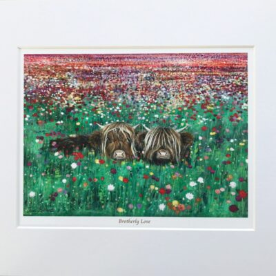 Highland Cow Brotherly Love Art Gift Print Pankhurst Cards and Gifts