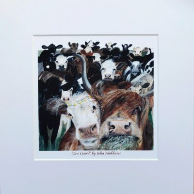 Cow Crowd Highland Cow Animal Art Gift Print Pankhurst Cards and Gifts