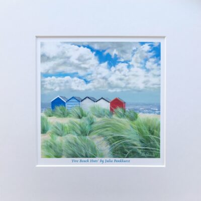 Five Beach Huts Haven Landscape Seascape Art Print Gift Pankhurst Cards and Gifts