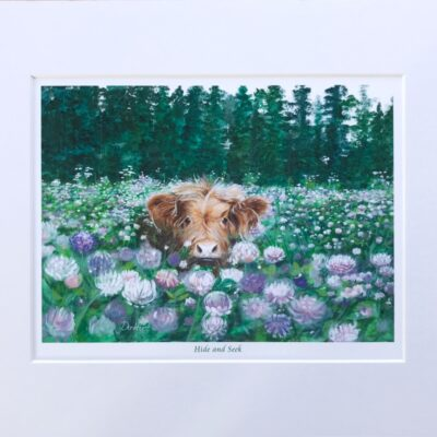 Highland Cow Hide and Seek Art Gift Print Pankhurst Cards and Gifts