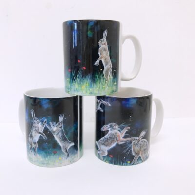 Boxing Hares Lone Hare Hare Antics Mug Animal Art Gift Pankhurst Cards and Gifts