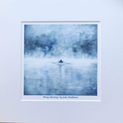 Misty Morning Boat Rowing Art Print Gift Pankhurst Cards and Gifts