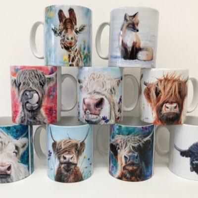 Pankhurst Cards and Gifts Mug Collection Animal Art Highland Cow