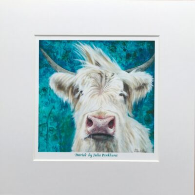 Highland Cow Patrick Art Print Gift Pankhurst Cards and Gifts