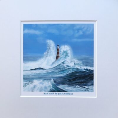 Rock Solid Crashing Waves Seascape Lighthouse Art Print Gift Pankhurst Cards and Gifts