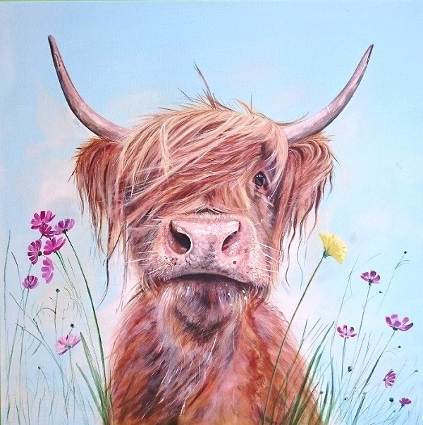 Highland Cow Ronald Jnr Art Gift Pankhurst Cards and Gifts
