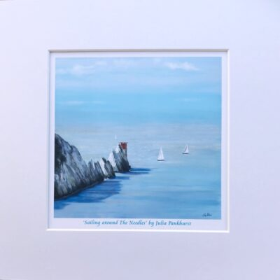 Sailing Around The Needles Isle of Wight Seascape Yacht Art Print Gift Pankhurst Cards and Gifts
