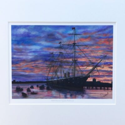 Sunset on Warrior, Portsmouth HMS Warrior Historical Warships Art Print Gift Pankhurst Cards and Gifts