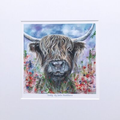Highland Cow Teddy Art Print Gift Pankhurst Cards and Gifts