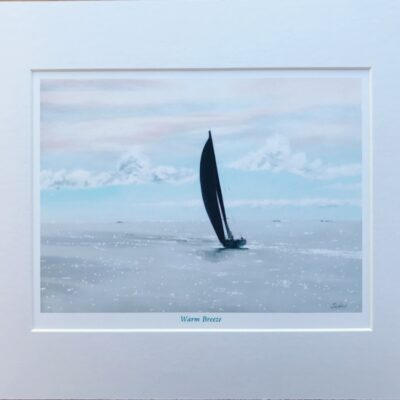 Warm Breeze Seascape Yacht Sailing Art Print Gift Pankhurst Cards and Gifts