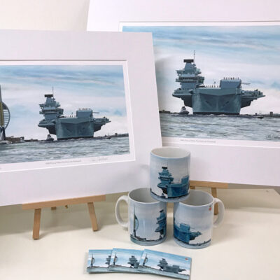 HMS Prince of Wales Warship Art Gift Mug Magnet Print Pankhurst Cards and Gifts