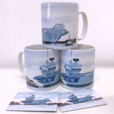 HMS Queen Elizabeth Warship Art Magnet Mug Gift Pankhurst Cards and Gifts