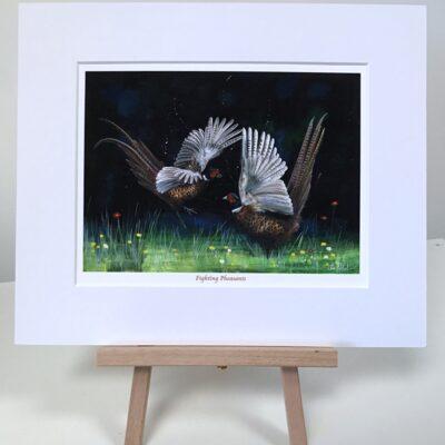 Fighting Pheasants Animal Art Print Gift Pankhurst Cards and Gifts