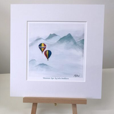 Mountain Tops Hot Air Balloon Art Print Gift Pankhurst Cards and Gifts