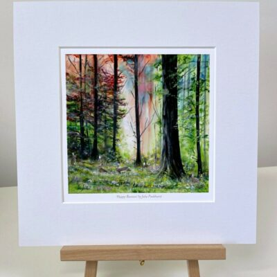 Happy Bunnies woodland mini print gift art Pankhurst Cards and Gifts
