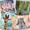 Pankhurst Cards and Gifts Woodland Antics hares, pigs, woodland, giraffegreetings cards