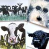 Pankhurst Cards and Gifts friesian cow highland cow, westie greetings cards art