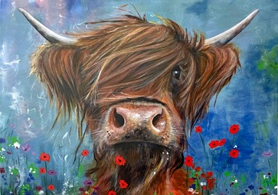 Bruce Highland Cow Art Greetings Card Gift Pankhurst Cards and Gifts