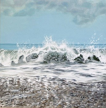 Great surf seascape crashing waves beach Art Greetings Card Gift Pankhurst Cards and Gifts